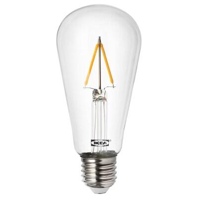 LUNNOM Bec LED E27 100 lumeni, formă picătură transparent