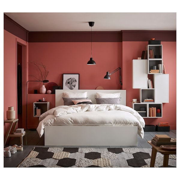 MALM Cadru pat înalt+2 cutii depozitare, alb/Luröy, 140x200 cm