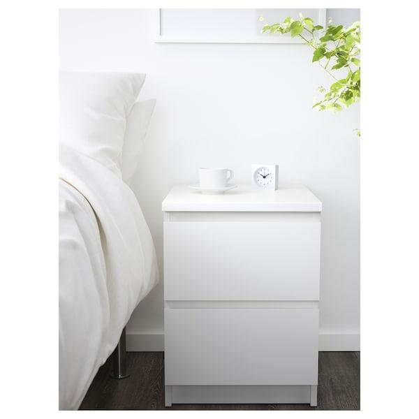 MALM Comodă 2 sertare, alb, 40x55 cm