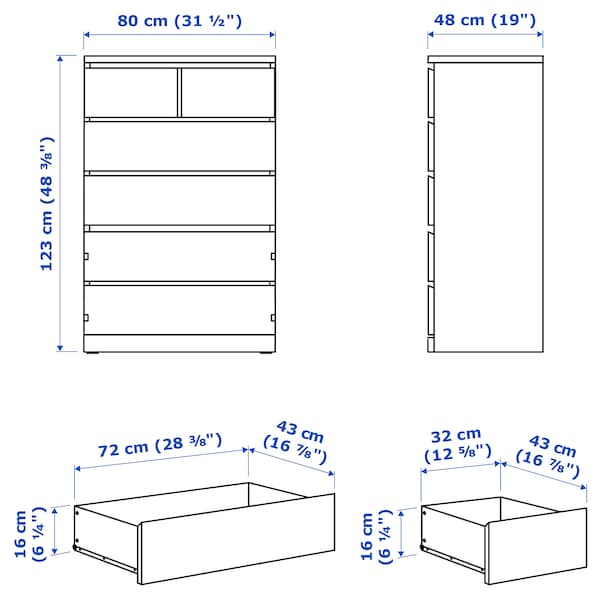 MALM Comodă 6 sertare, alb, 80x123 cm