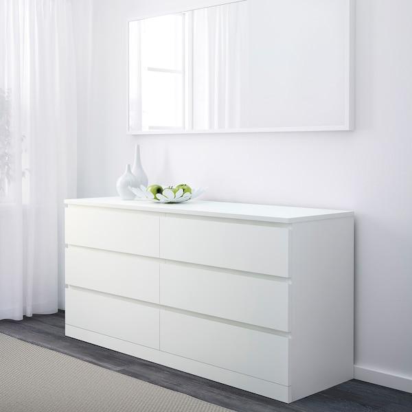 MALM Comodă 6 sertare, alb, 160x78 cm