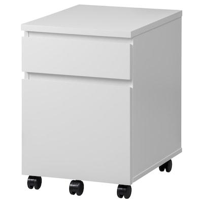 MALM Comodă cu rotile, alb, 42x59 cm