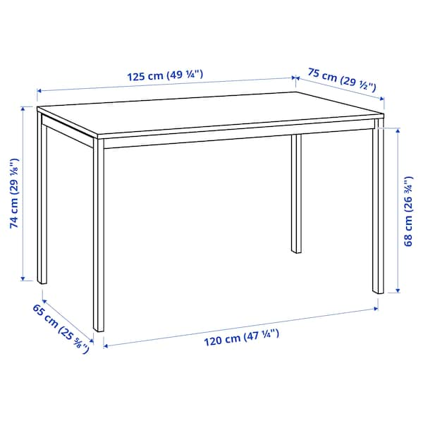 MELLTORP Masă, alb, 125x75 cm