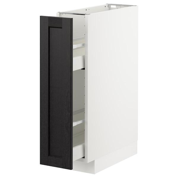 METOD Corp bază/accesorii int culisante, alb/Lerhyttan vopsit negru, 20x60 cm