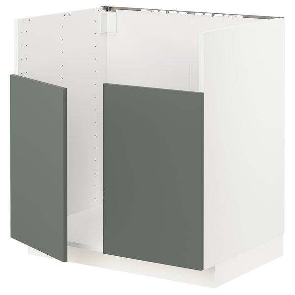 METOD Corp bază BREDSJÖN chiuvetă 2 cuve, alb/Bodarp gri-verde, 80x60 cm