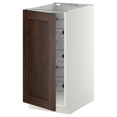 METOD Corp bază+coşuri metalice, alb/Edserum maro, 40x60 cm