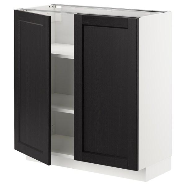 METOD Corp bază cu poliţe/2 uşi, alb/Lerhyttan vopsit negru, 80x37 cm