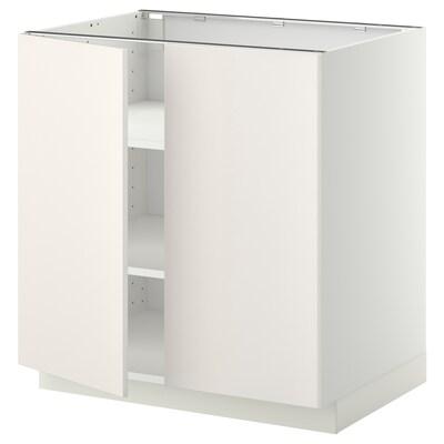 METOD Corp bază cu poliţe/2 uşi, alb/Veddinge alb, 80x60 cm