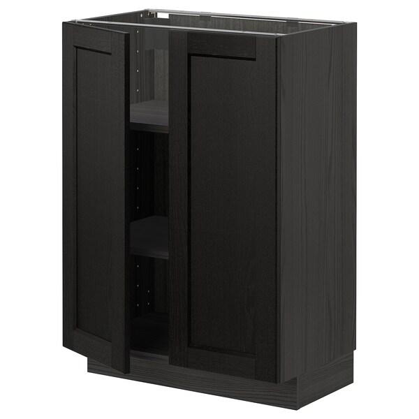METOD Corp bază cu poliţe/2 uşi, negru/Lerhyttan vopsit negru, 60x37 cm
