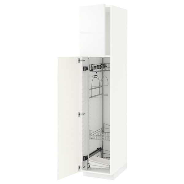 METOD Corp înalt + accesoriu curăţenie, alb/Ringhult alb, 40x60x200 cm