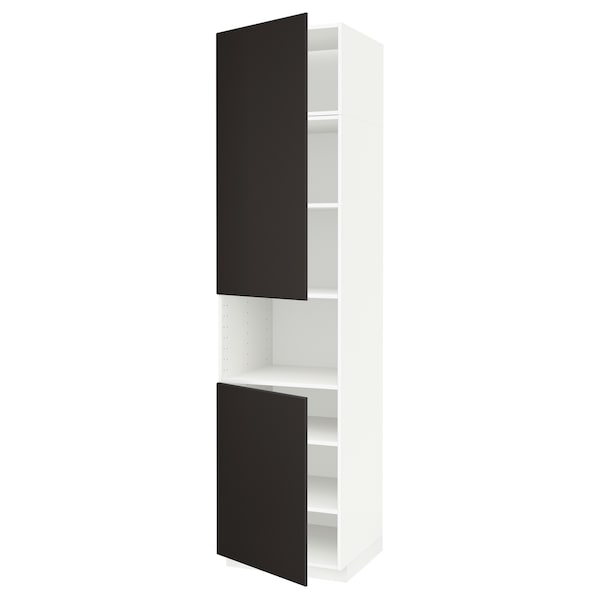 METOD Corp înalt microunde+2 uşi/poliţe, alb/Kungsbacka antracit, 60x60x240 cm