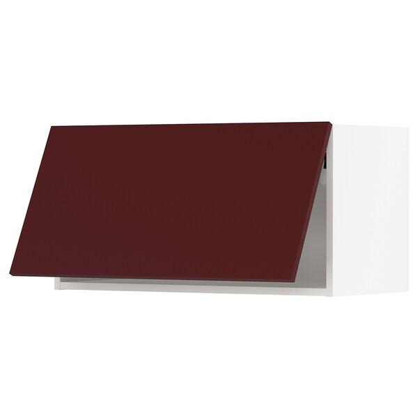 METOD Corp suspendat orizn+deschidere aps, alb Kallarp/lucios roşu-maro închis, 80x40 cm
