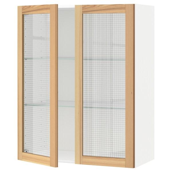 METOD Corp suspendat+poliţe/2uşi sticlă, alb/Torhamn frasin, 80x100 cm