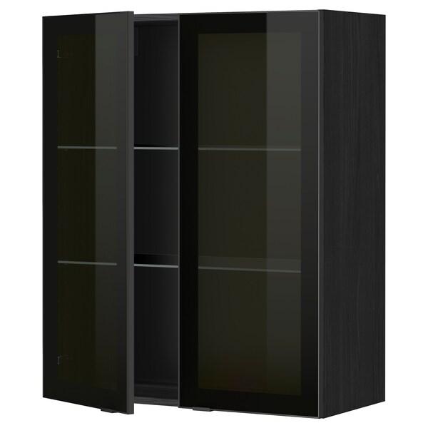 METOD Corp suspendat+poliţe/2uşi sticlă, negru/Jutis sticlă fumurie, 80x100 cm