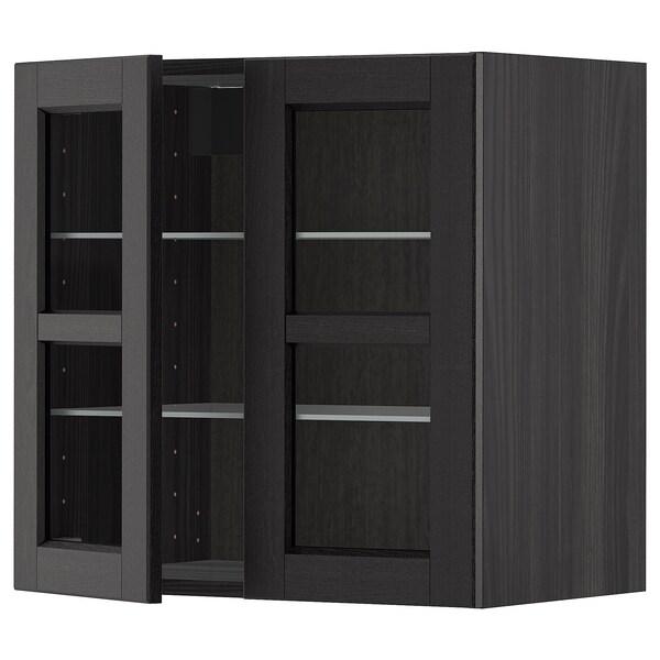 METOD Corp suspendat+poliţe/2uşi sticlă, negru/Lerhyttan vopsit negru, 60x60 cm