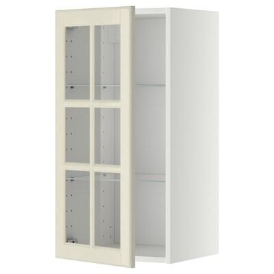 METOD Corp suspendat+poliţe/uşă sticlă, alb/Bodbyn alb, 40x80 cm