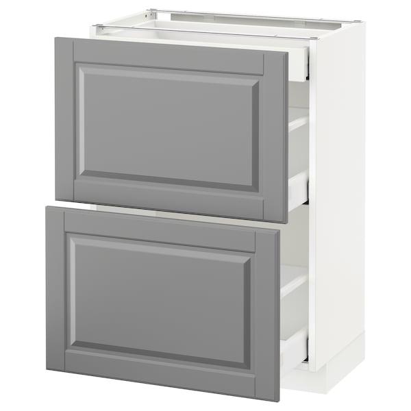 METOD / MAXIMERA Corp bază 2fronturi/3sertare, alb/Bodbyn gri, 60x37 cm