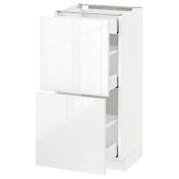 METOD / MAXIMERA Corp bază 2fronturi/3sertare, alb/Ringhult alb, 40x37 cm
