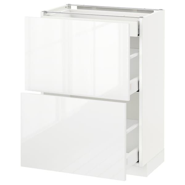 METOD / MAXIMERA Corp bază 2fronturi/3sertare, alb/Ringhult alb, 60x37 cm