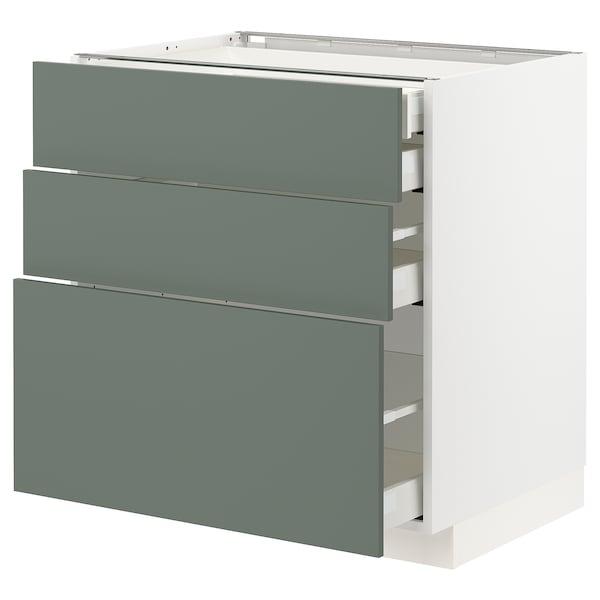 METOD / MAXIMERA Corp bază 3fronturi/2+1+1sertare, alb/Bodarp gri-verde, 80x60 cm