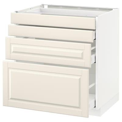 METOD / MAXIMERA Corp bază/4 fronturi/4 sertare, alb/Bodbyn alb, 80x60 cm