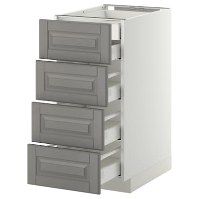 METOD / MAXIMERA Corp bază 4fronturi/2+3sertare, alb/Bodbyn gri, 40x60 cm