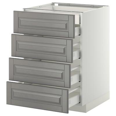 METOD / MAXIMERA Corp bază 4fronturi/2+3sertare, alb/Bodbyn gri, 60x60 cm