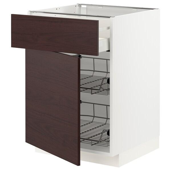 METOD / MAXIMERA Corp bază+coş metalic/sertar/uşă, alb Askersund/maro închis aspect frasin, 60x60 cm