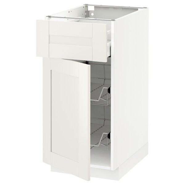 METOD / MAXIMERA Corp bază+coş metalic/sertar/uşă, alb/Sävedal alb, 40x60 cm