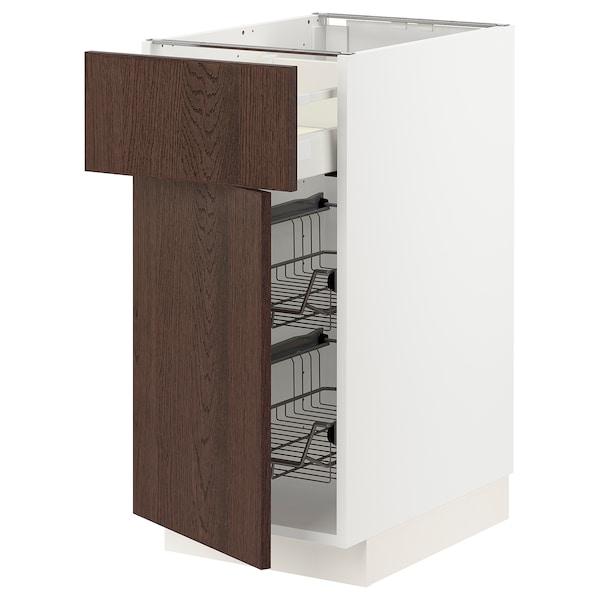 METOD / MAXIMERA Corp bază+coş metalic/sertar/uşă, alb/Sinarp maro, 40x60 cm