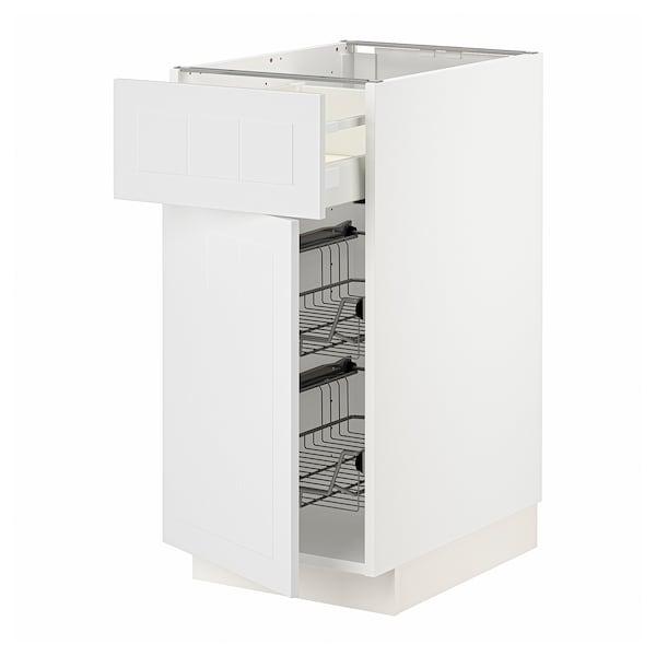 METOD / MAXIMERA Corp bază+coş metalic/sertar/uşă, alb/Stensund alb, 40x60 cm