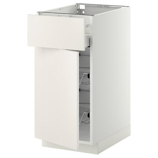 METOD / MAXIMERA Corp bază+coş metalic/sertar/uşă, alb/Veddinge alb, 40x60 cm