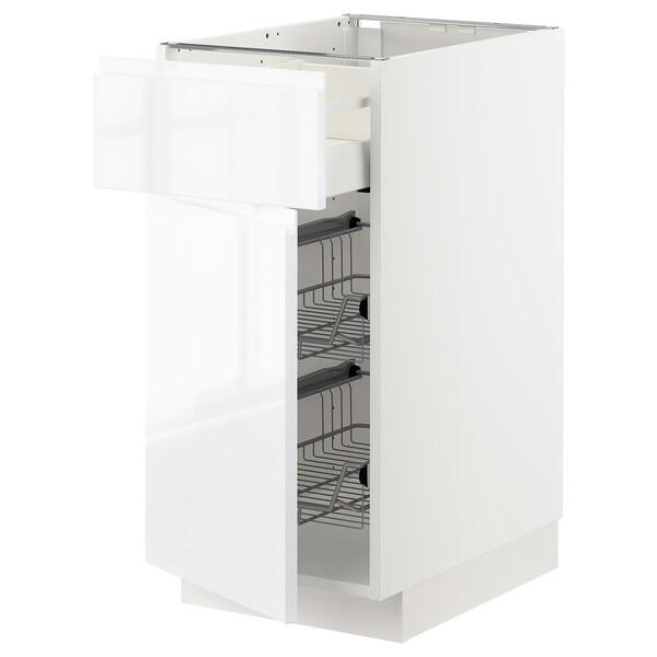 METOD / MAXIMERA Corp bază+coş metalic/sertar/uşă, alb/Voxtorp lucios/alb, 40x60 cm