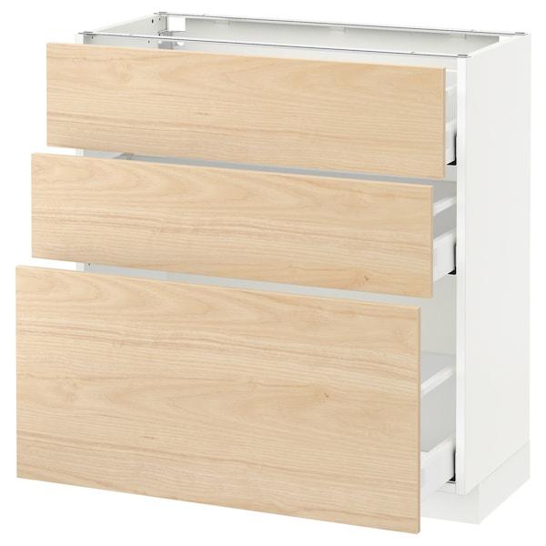 METOD / MAXIMERA Corp bază cu 3 sertare, alb/Askersund aspect frasin, 80x37 cm