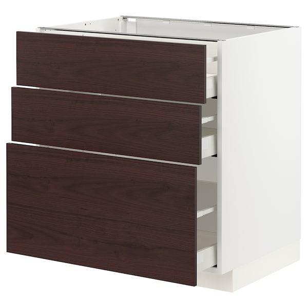 METOD / MAXIMERA Corp bază cu 3 sertare, alb Askersund/maro închis aspect frasin, 80x60 cm