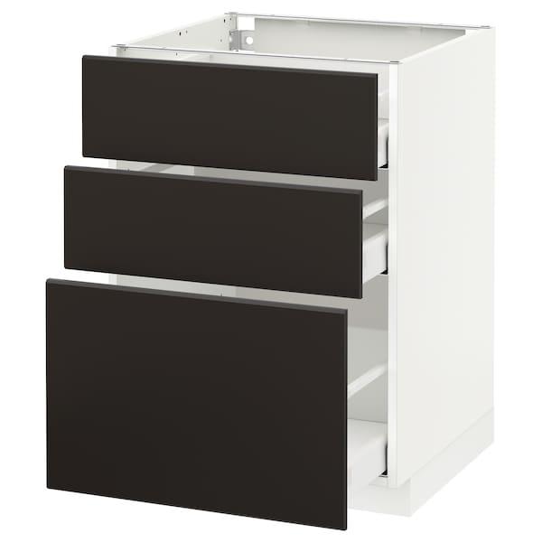 METOD / MAXIMERA Corp bază cu 3 sertare, alb/Kungsbacka antracit, 60x60 cm