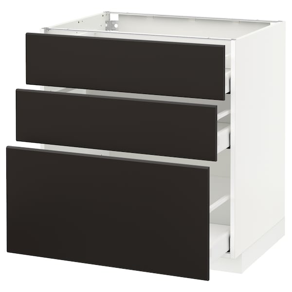 METOD / MAXIMERA Corp bază cu 3 sertare, alb/Kungsbacka antracit, 80x60 cm