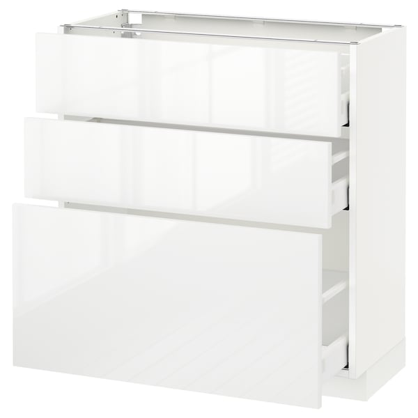 METOD / MAXIMERA Corp bază cu 3 sertare, alb/Ringhult alb, 80x37 cm