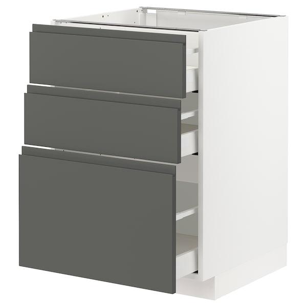 METOD / MAXIMERA Corp bază cu 3 sertare, alb/Voxtorp gri închis, 60x60 cm