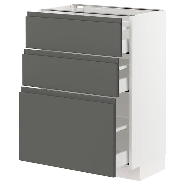 METOD / MAXIMERA Corp bază cu 3 sertare, alb/Voxtorp gri închis, 60x37 cm