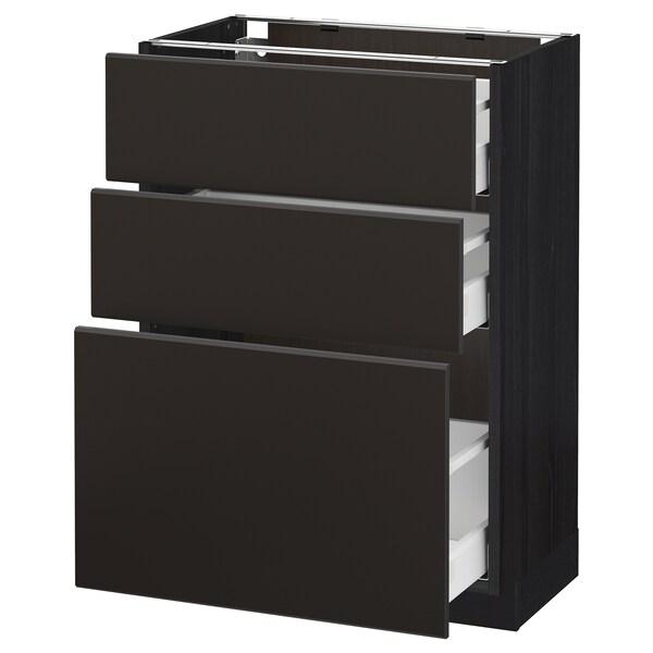 METOD / MAXIMERA Corp bază cu 3 sertare, negru/Kungsbacka antracit, 60x37 cm