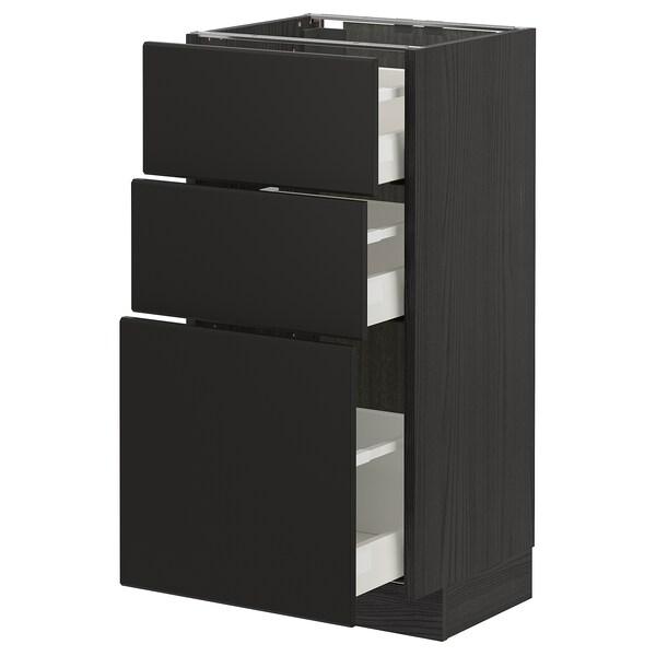 METOD / MAXIMERA Corp bază cu 3 sertare, negru/Kungsbacka antracit, 40x37 cm