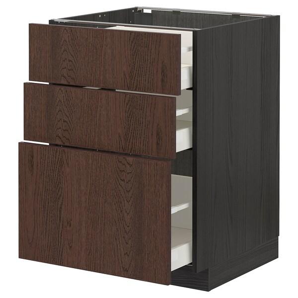 METOD / MAXIMERA Corp bază cu 3 sertare, negru/Sinarp maro, 60x60 cm