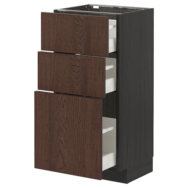 METOD / MAXIMERA Corp bază cu 3 sertare, negru/Sinarp maro, 40x37 cm
