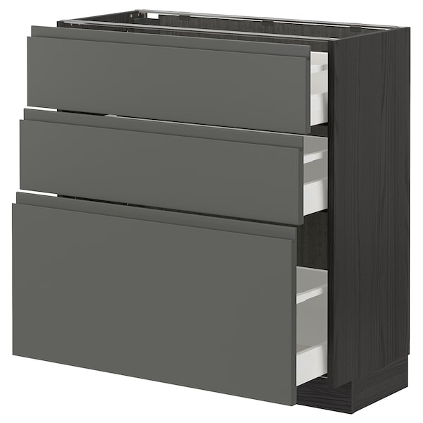 METOD / MAXIMERA Corp bază cu 3 sertare, negru/Voxtorp gri închis, 80x37 cm