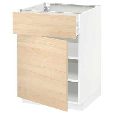 METOD / MAXIMERA Corp bază cu sertar/uşă, alb/Askersund aspect frasin, 60x60 cm