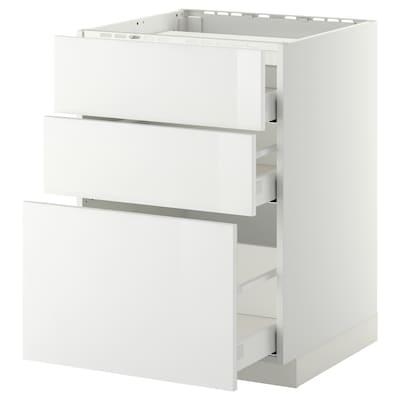 METOD / MAXIMERA Corp bază plită/3fronturi/3sertare, alb/Ringhult alb, 60x60 cm