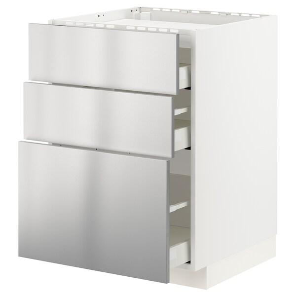 METOD / MAXIMERA Corp bază plită/3fronturi/3sertare, alb/Vårsta inox, 60x60 cm