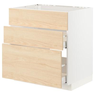 METOD / MAXIMERA Corp bază plită/hotă int+sertar, alb/Askersund aspect frasin, 80x60 cm