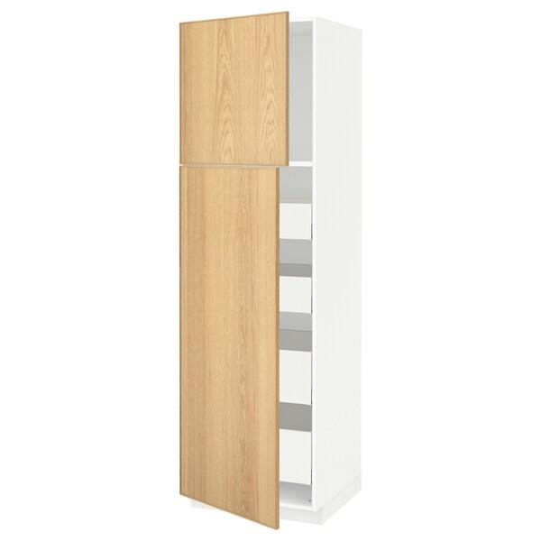 METOD / MAXIMERA Corp înalt+2 uşi/4 sertare, alb/Ekestad stejar, 60x60x200 cm